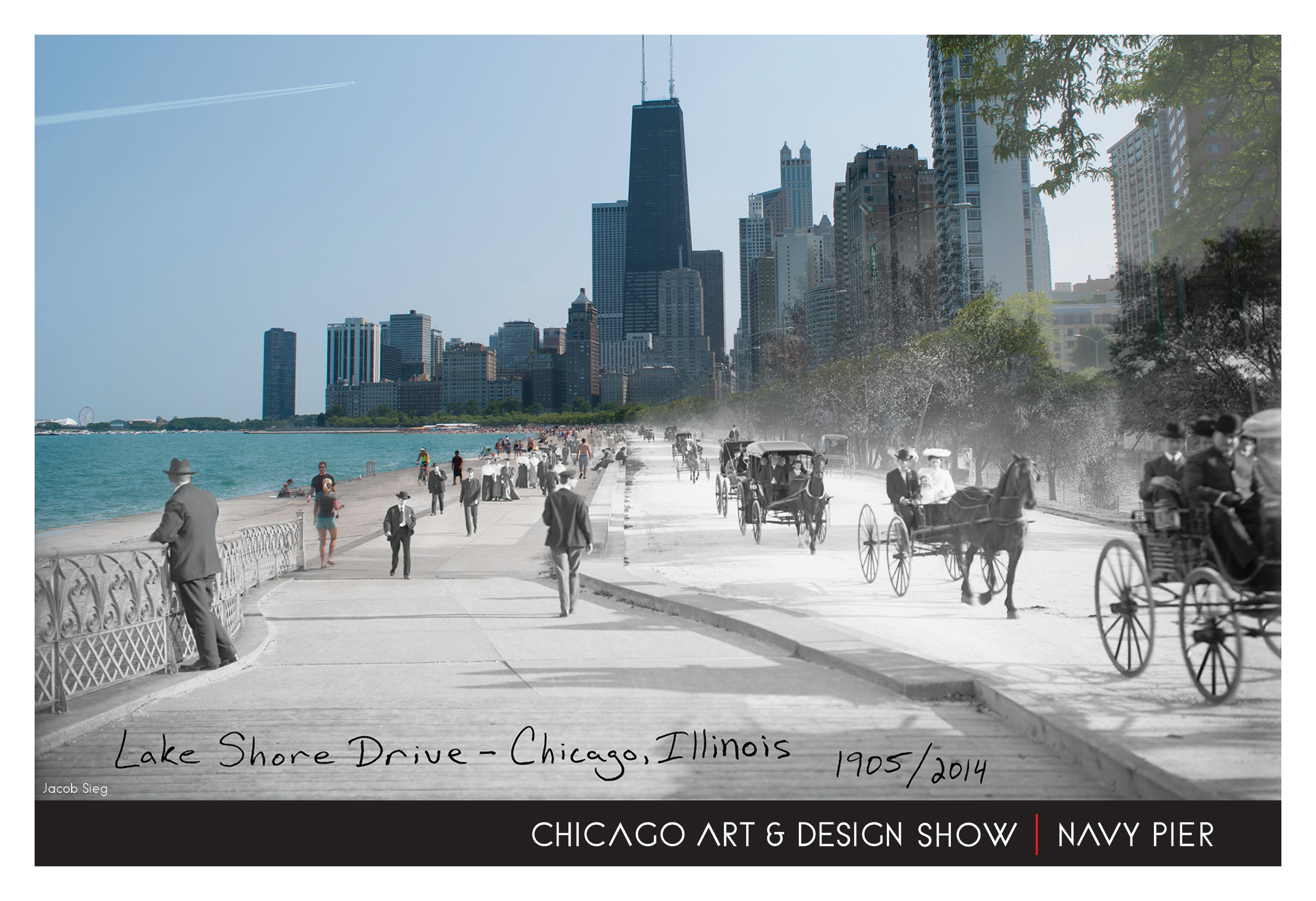 the chicago art design show at navy pier amdur productions the first 100 attendees to the show on saturday will receive a free festival poster featuring artist jacob sieg he will be available to sign his poster