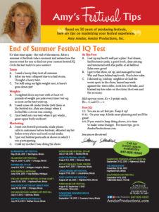 Amy's Festival Tips - End of Summer Festival IQ Test