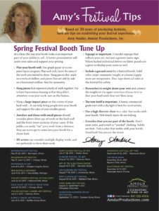 Amy's Festival Tips - Spring Festival Booth Tune Up